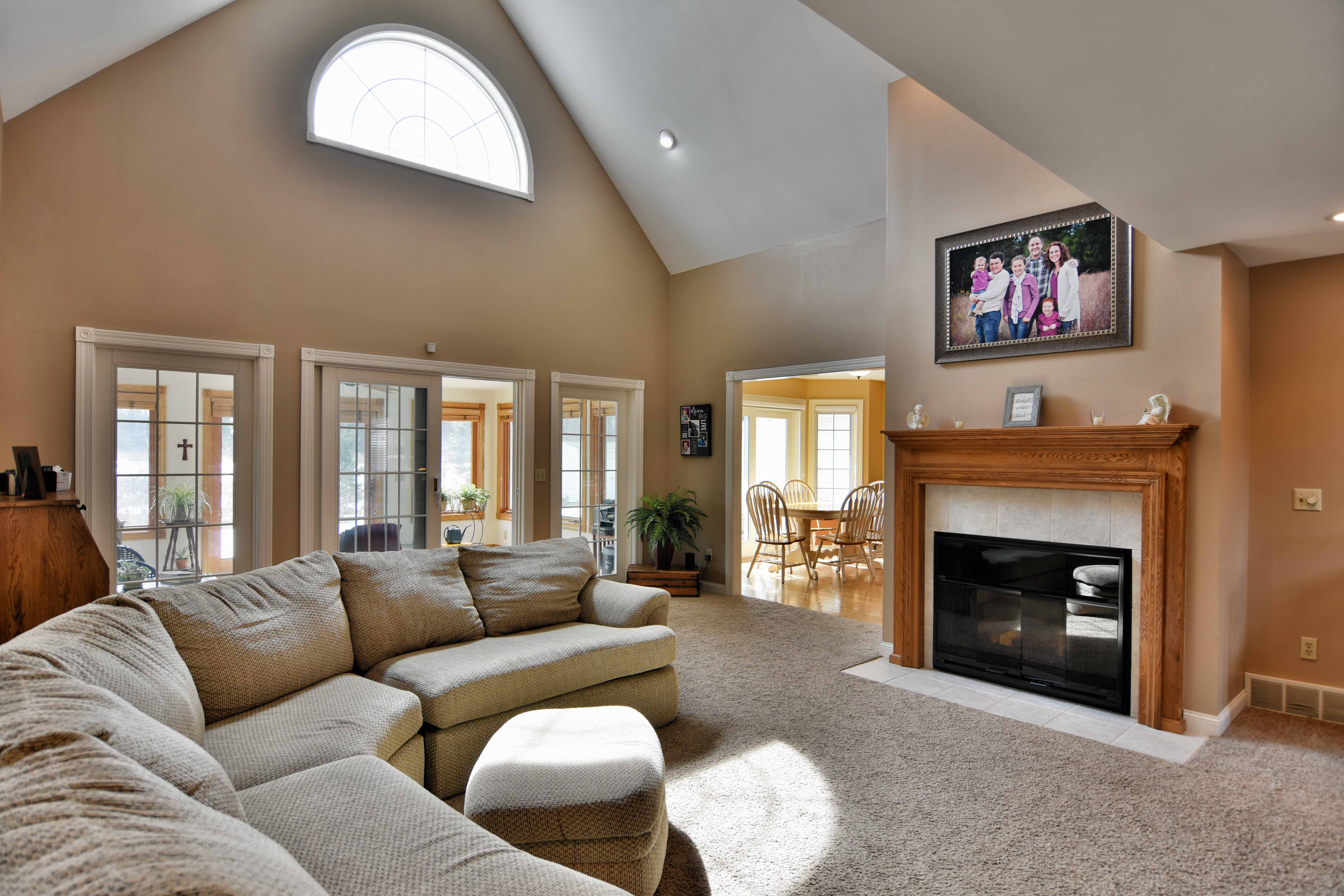 rice lake home living room, real estate for sale